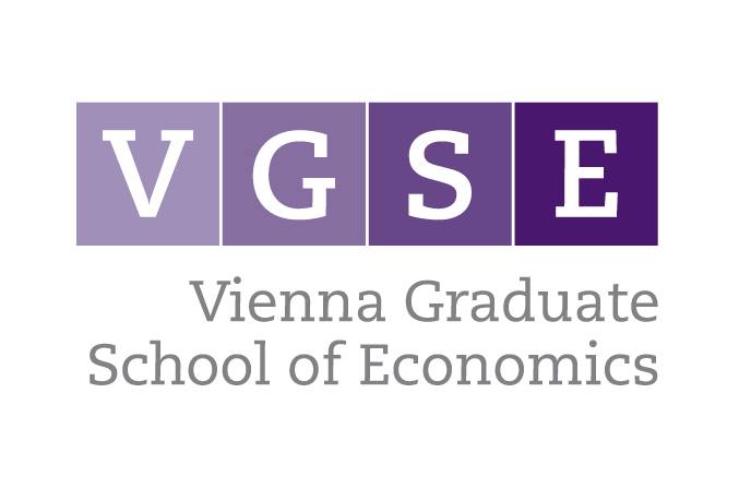 Picture displays the logo of VGSE - Vienna Graduate School of Economics. The letters VGSE each appear on a square. Each square has a different shade of purple. Below the square it says Vienna Graduate School of Economics.